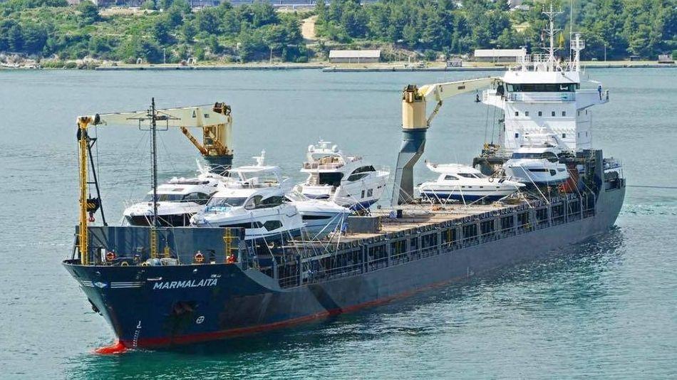 """Das vor der kamerunischen Millionenstadt Douala im Meer angegriffene Frachtschiff """"Marmalaita"""""""