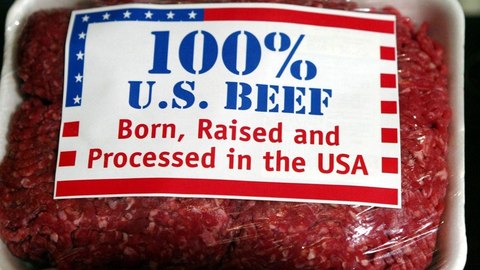 """Eine Packung mit """"100%-US-Rindfleisch"""""""