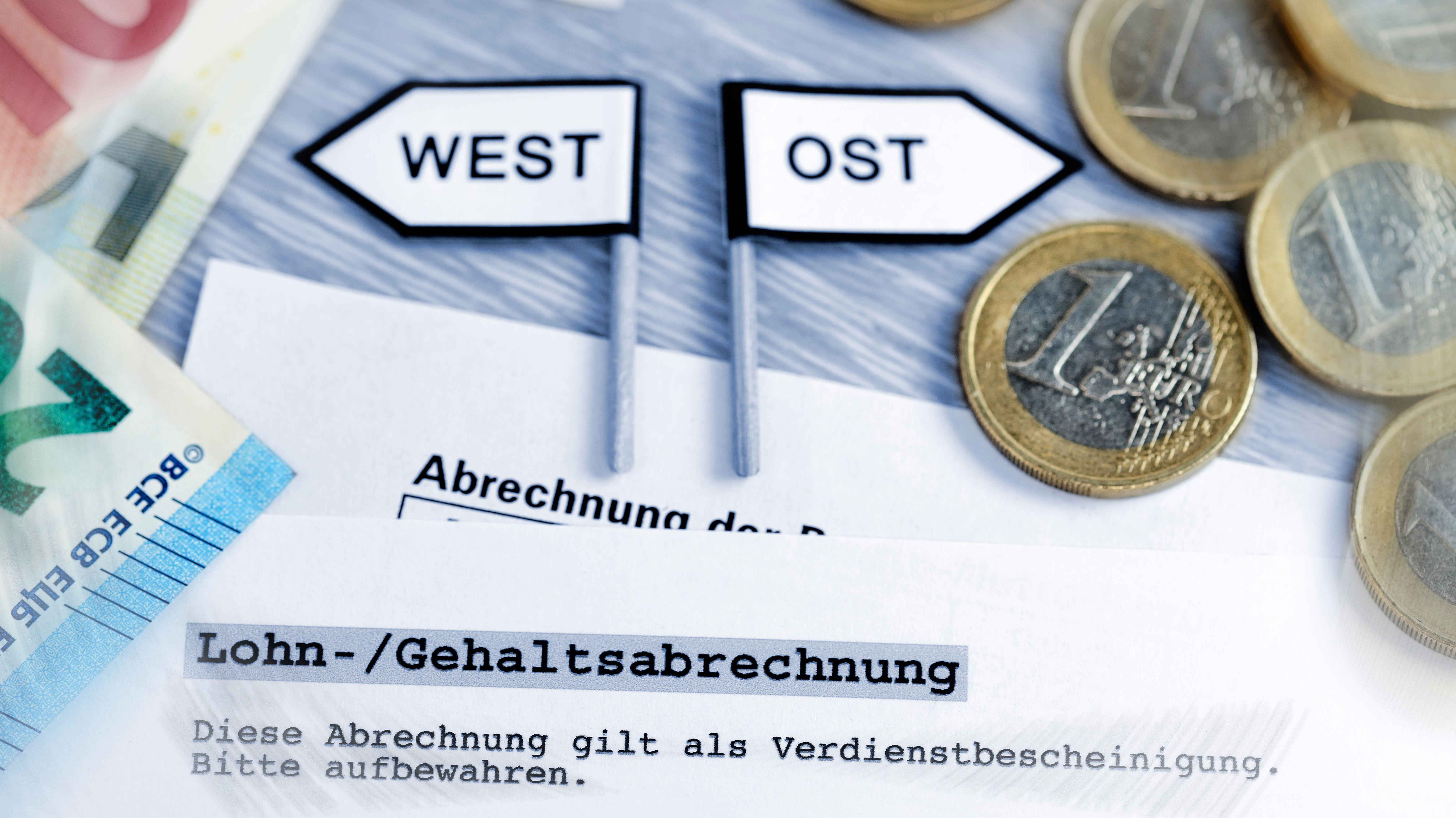 Wegweiser West und Ost mit Geldscheinen und Geldmünzen