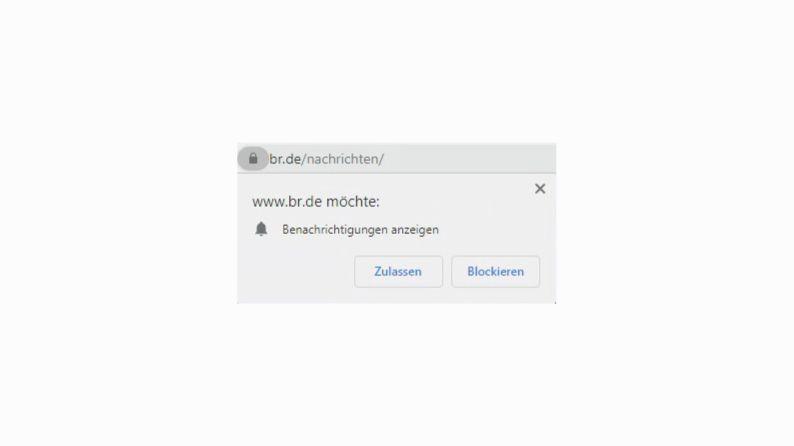Klicken Sie in Chrome auf Zulassen, um die Benachrichtigungen im Browser zu aktivieren.