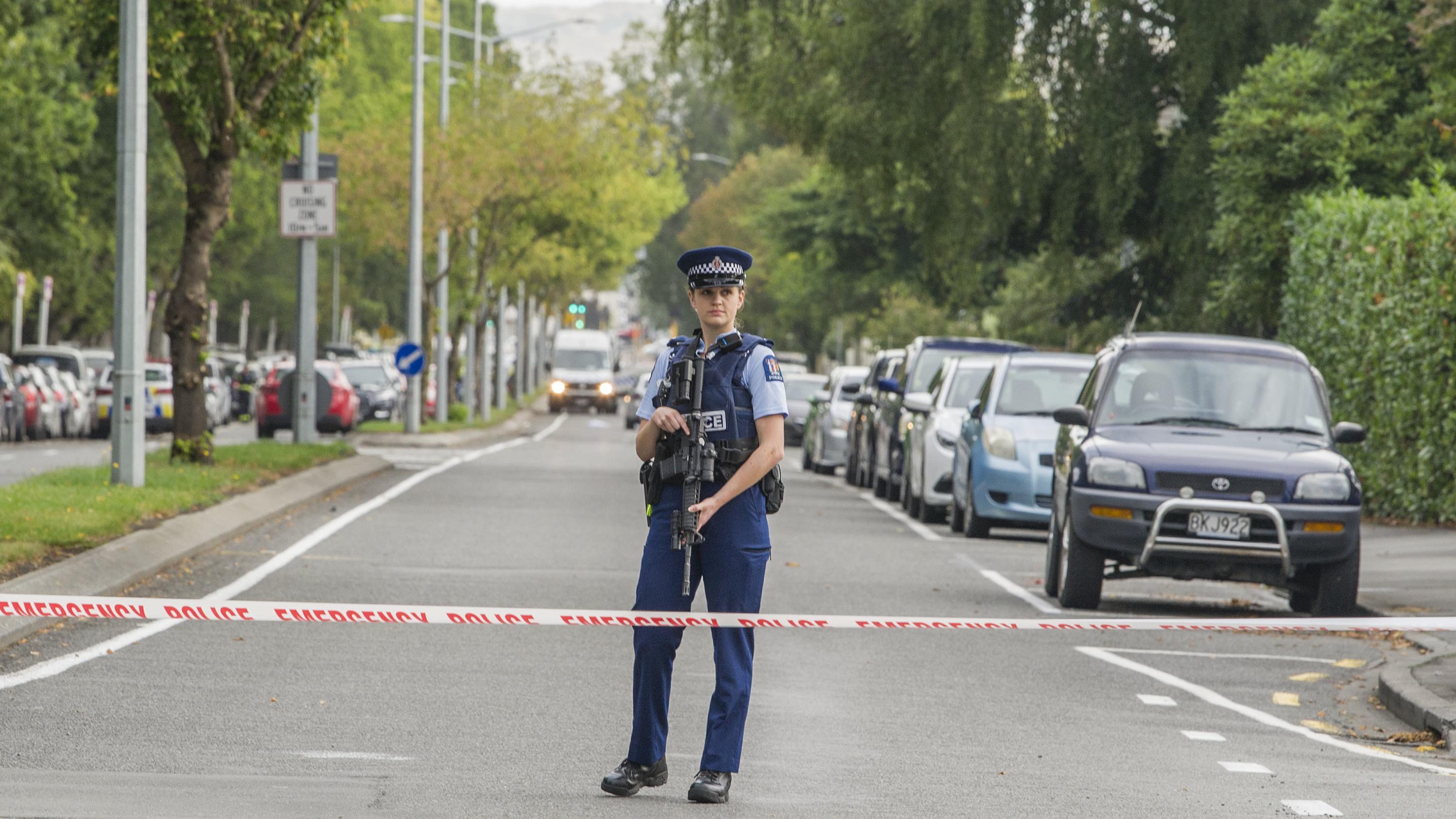 Polizeiabsperrung in Christchurch.
