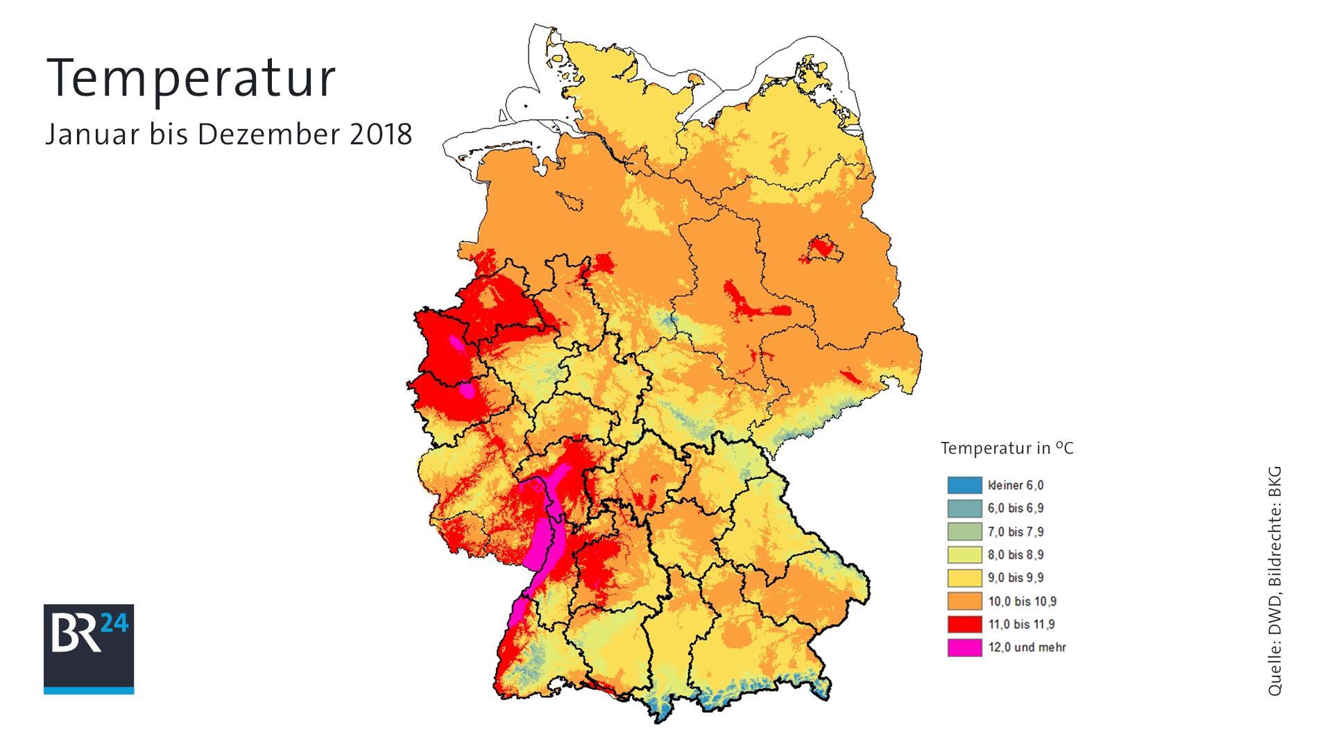 Jahresdurchschnittstemperaturen in Deutschland (Dezember geschätzt)
