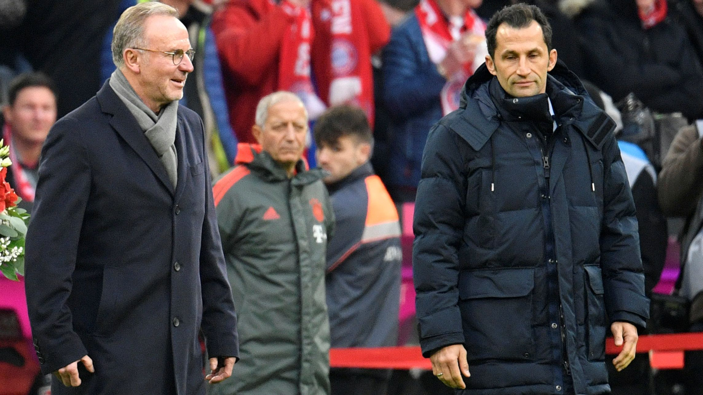 Bayern Münchens Vorstandschef Karl-Heinz Rummenigge und Sportdirektor Hasan Salihamidzic