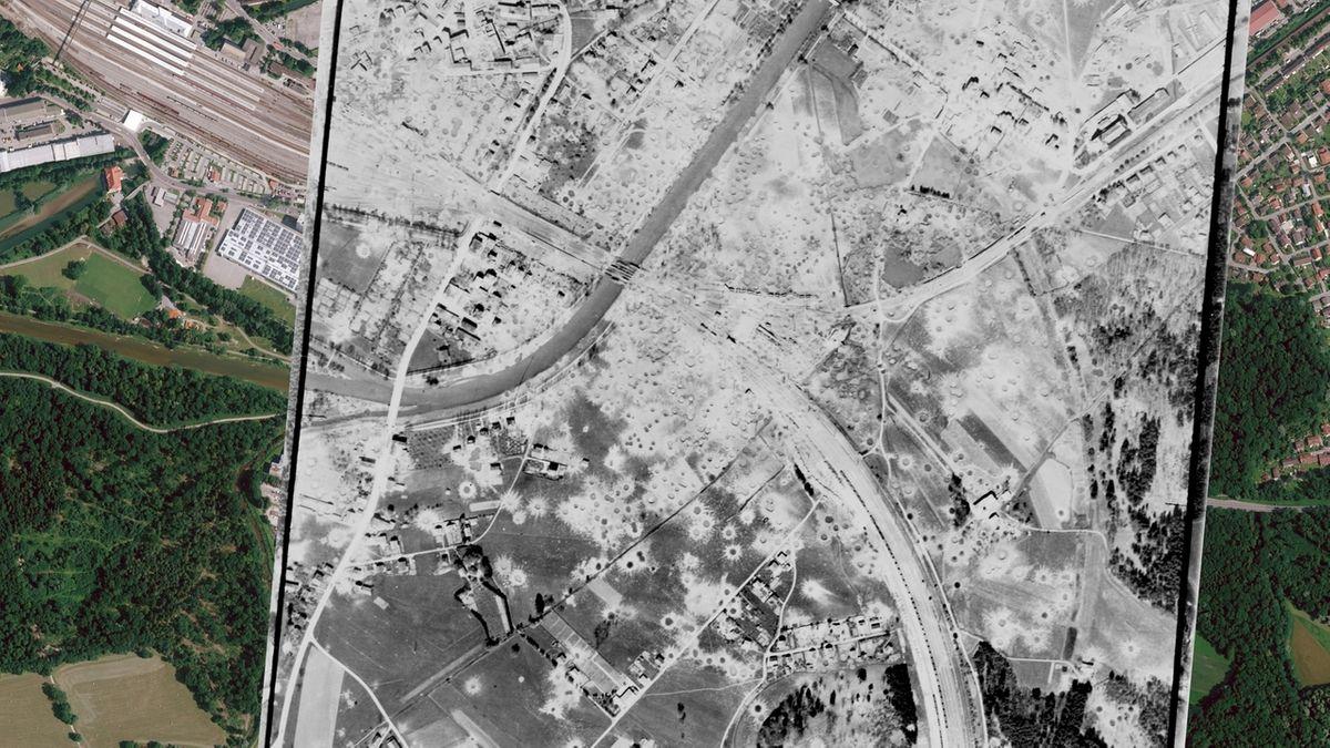 Luftbilder: Rosenheim 1945 (s/w) und heute