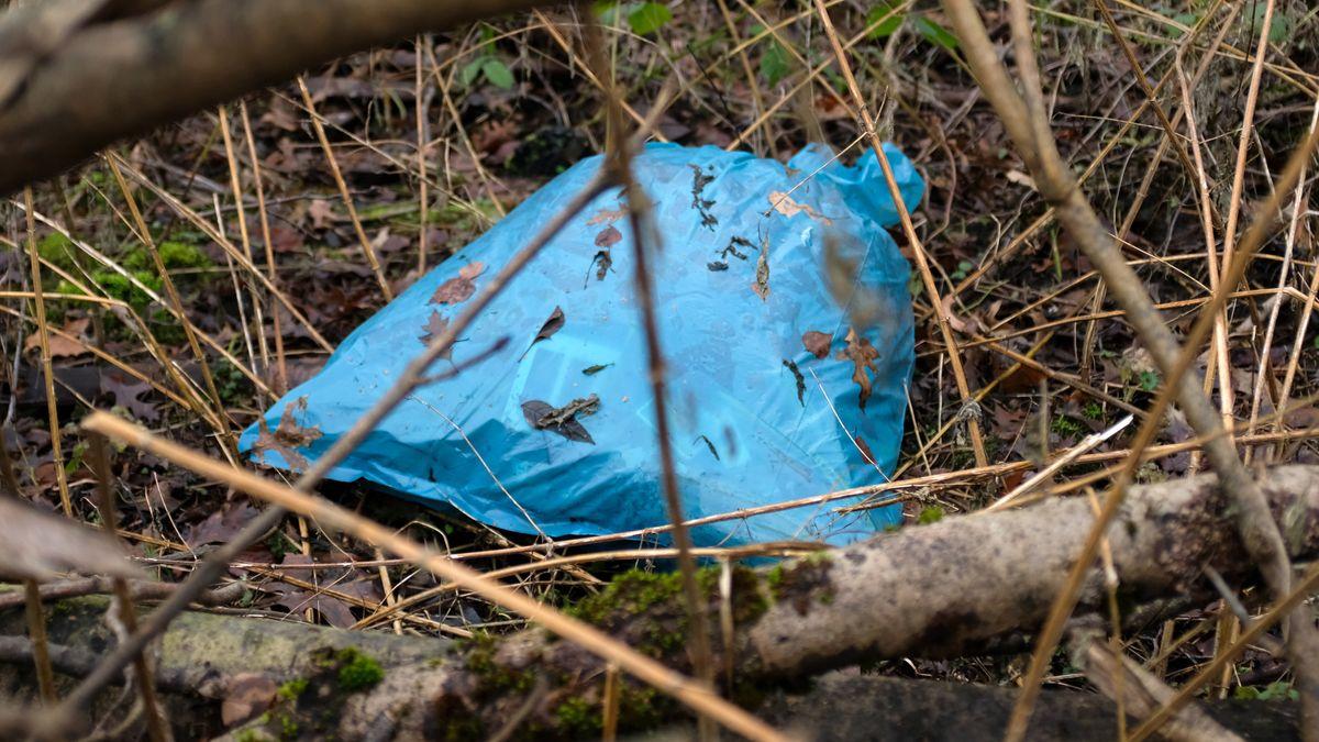 Müllsack im Wald. (Symbolbild)