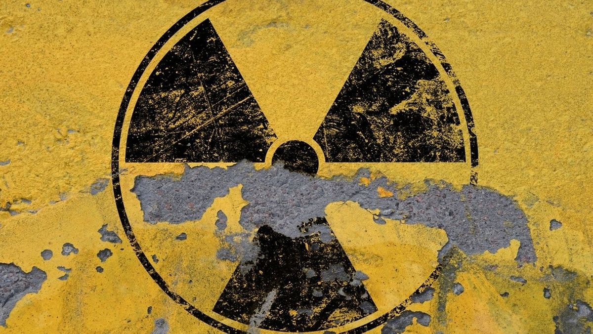 Das Zeichen für Radioaktivität - leicht verwittert