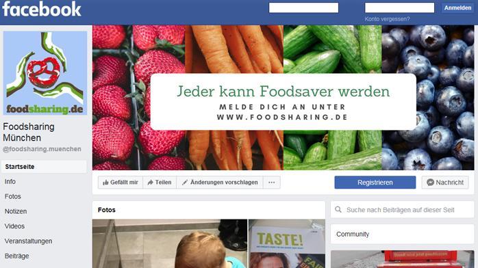 Die Facebook-Seite von foodsharing.de