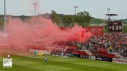 Pyrotechnik im Stadion am Dallenberg in Würzburg   Bild:BR Fernsehen