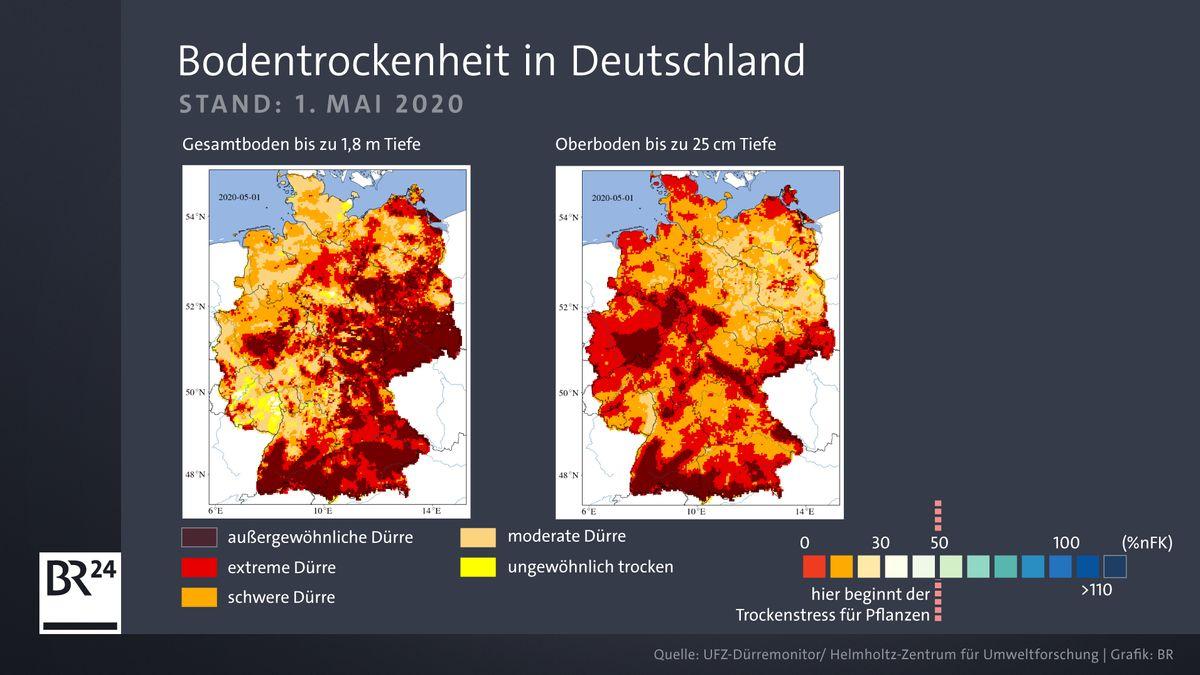 Infografik, die die Bodenfeuchtigkeit in Deutschland im Mai 2020 zeigt.