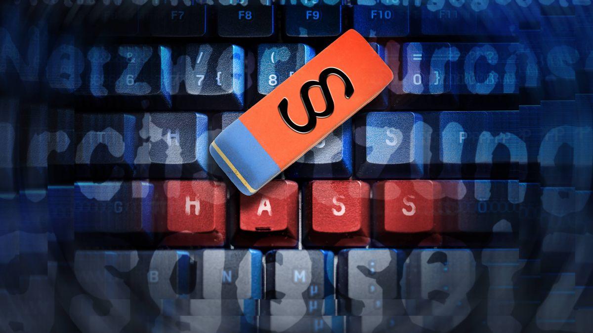 Computertasten mit der Aufschrift Hass und ein Radiergummi mit einem Paragrafen-Zeichen