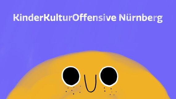 """Ein gelbes Mondgesicht, darüber in weißer Schrift auf blauem Grund """"KinderKulturOffensive Nürnberg"""""""