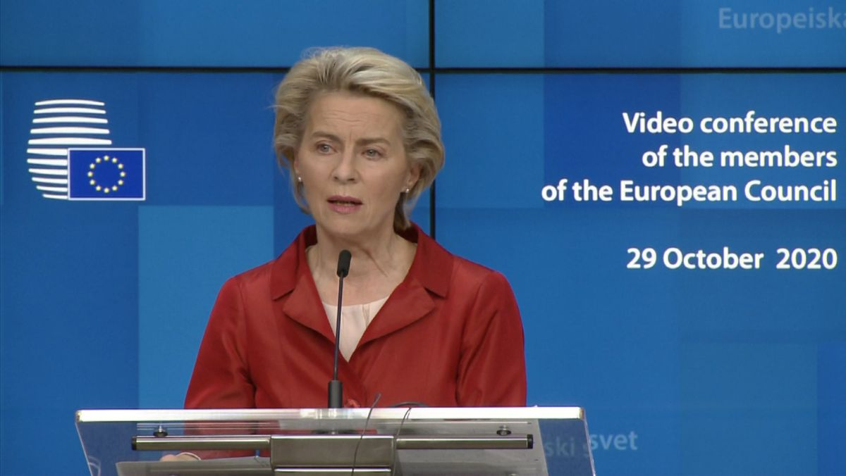 EU-Kommissionspräsidentin Ursula von der Leyen nach der Videoschalte am 29.10.2020.