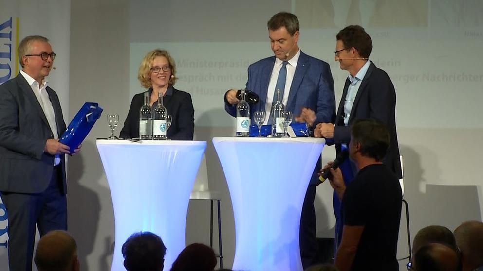 Auf Augenhöhe haben sich Ministerpräsident Markus Söder und die SPD-Spitzenkandidatin Natascha Kohnen in Nürnberg duelliert. | Bild:BR24