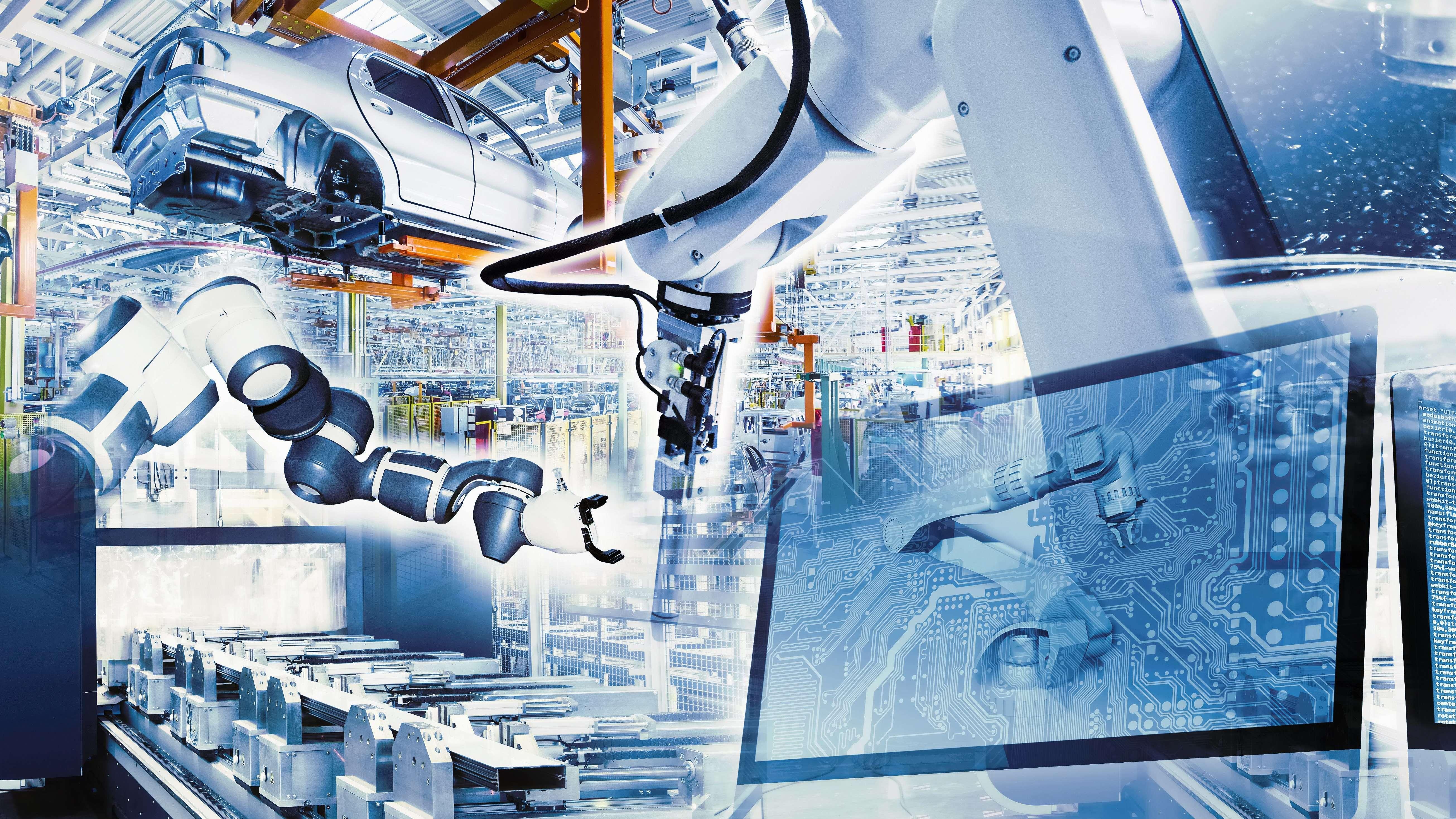 Industrieroboter setzen Autoteile zusammen. Die Arbeit wird mit Daten aus der Cloud unterstützt.
