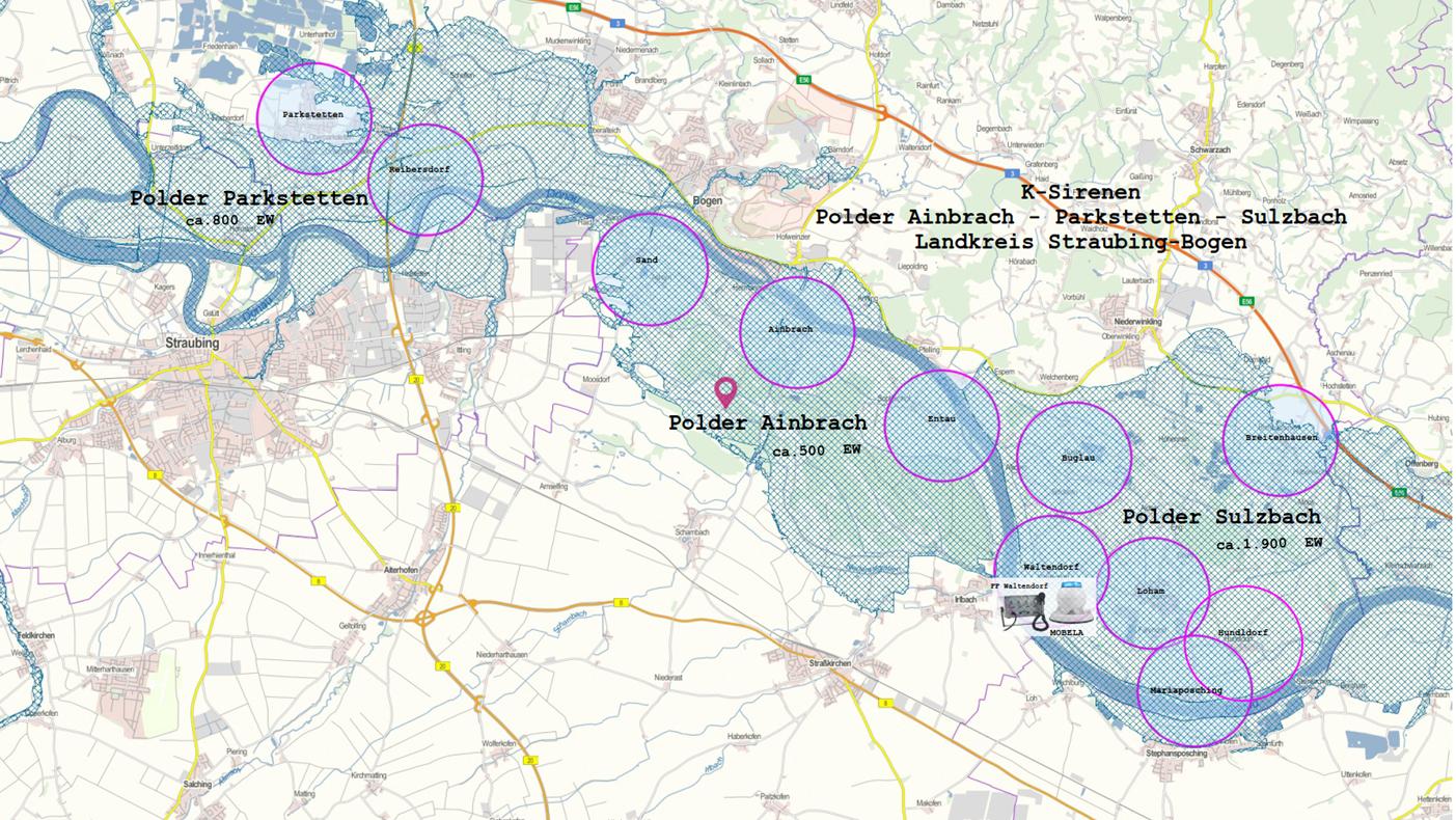 Sirenen Poldergebiete im Landkreis Straubing-Bogen im Überblick.