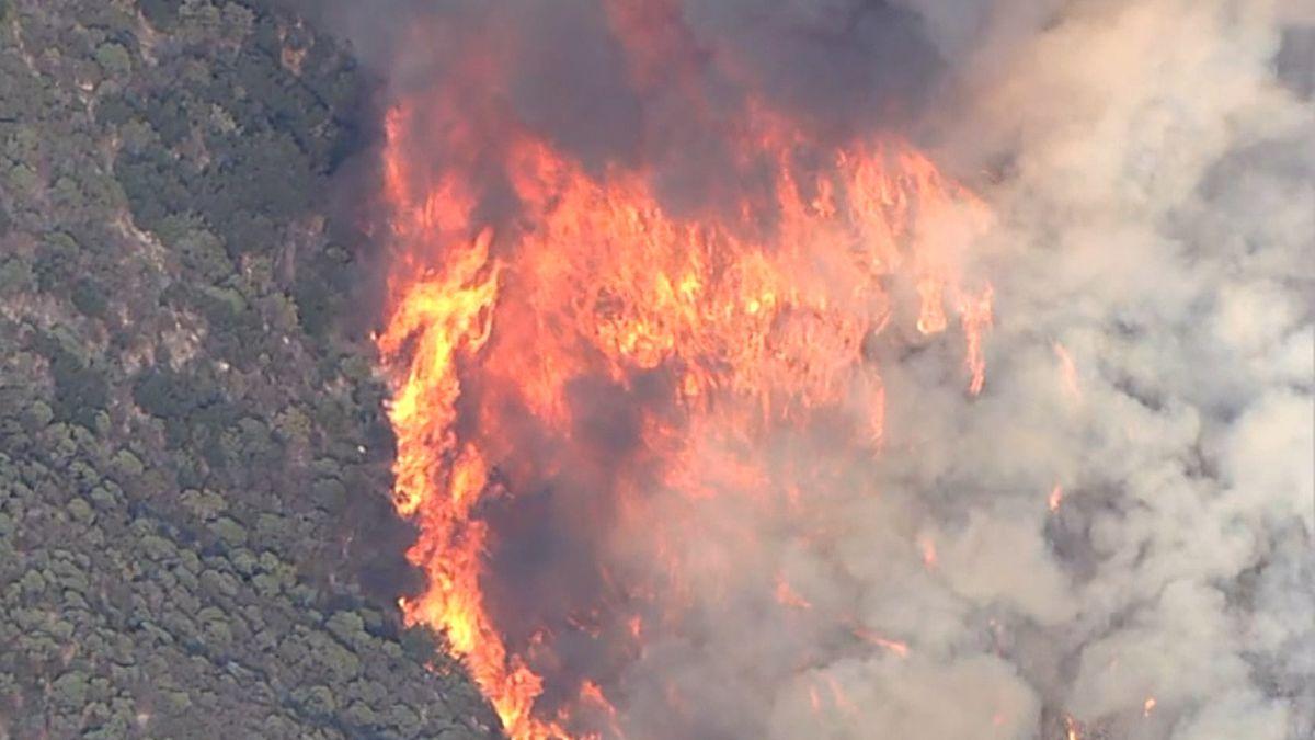 Angefacht vom Wind breiten sich die Flammen rasend schnell aus.