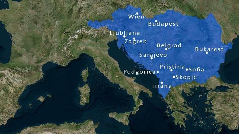 Die Hauptstädte des Berichtsgebiets  des ARD-Studios Südosteuropa - auf der Landkarte