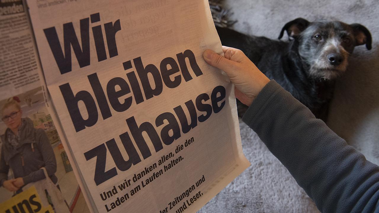 """Eine Frau sitzt Zuhause neben ihrem Hund und schaut auf die Anzeige der Zeitungen unter dem Leitmotiv """"Wir bleiben zuhause"""""""