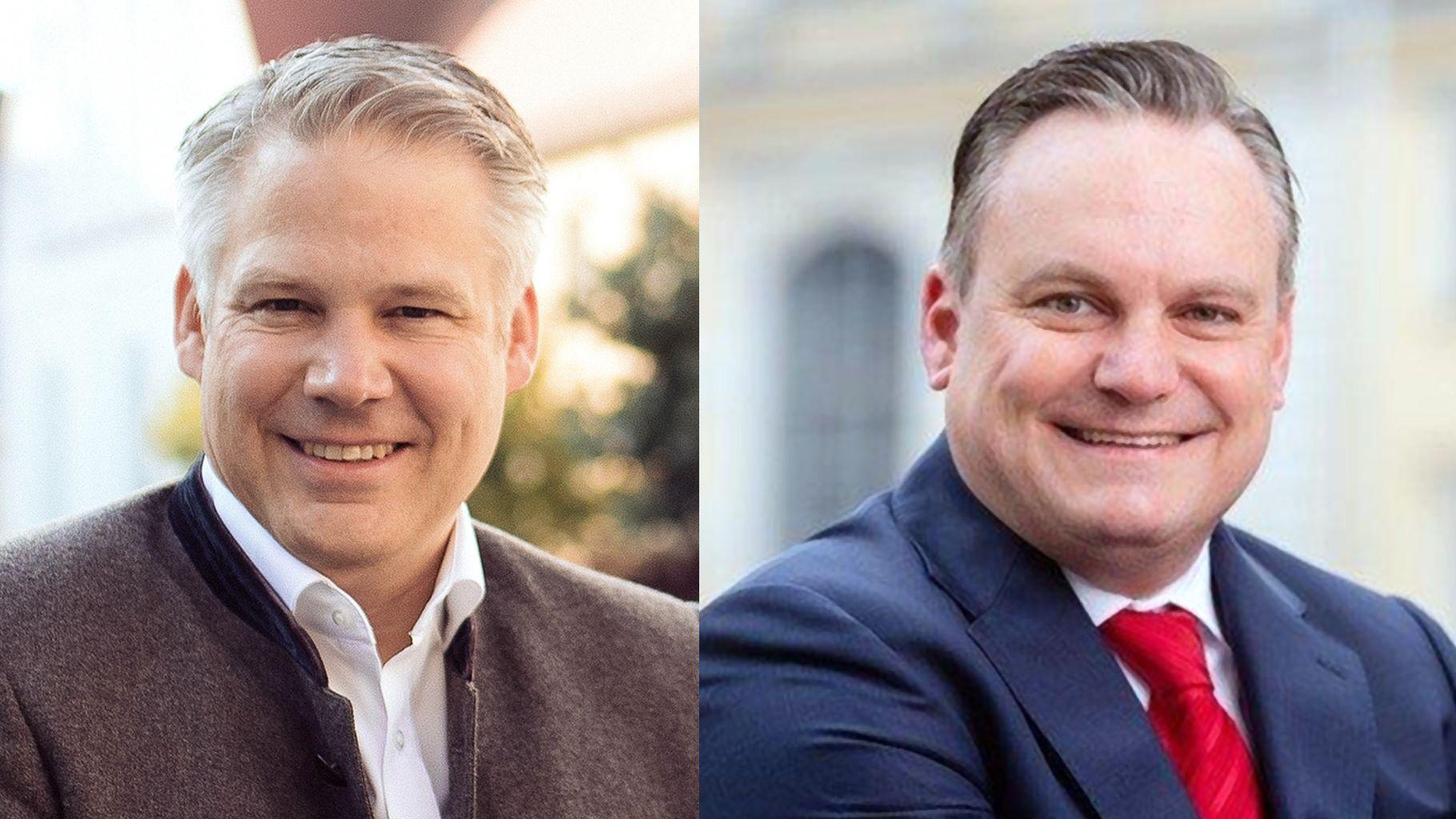 links: Christian Lösel von der CSU, rechts: Christian Scharpf von der SPD - Oberbürgermeister-Kandidaten in Ingolstadt.