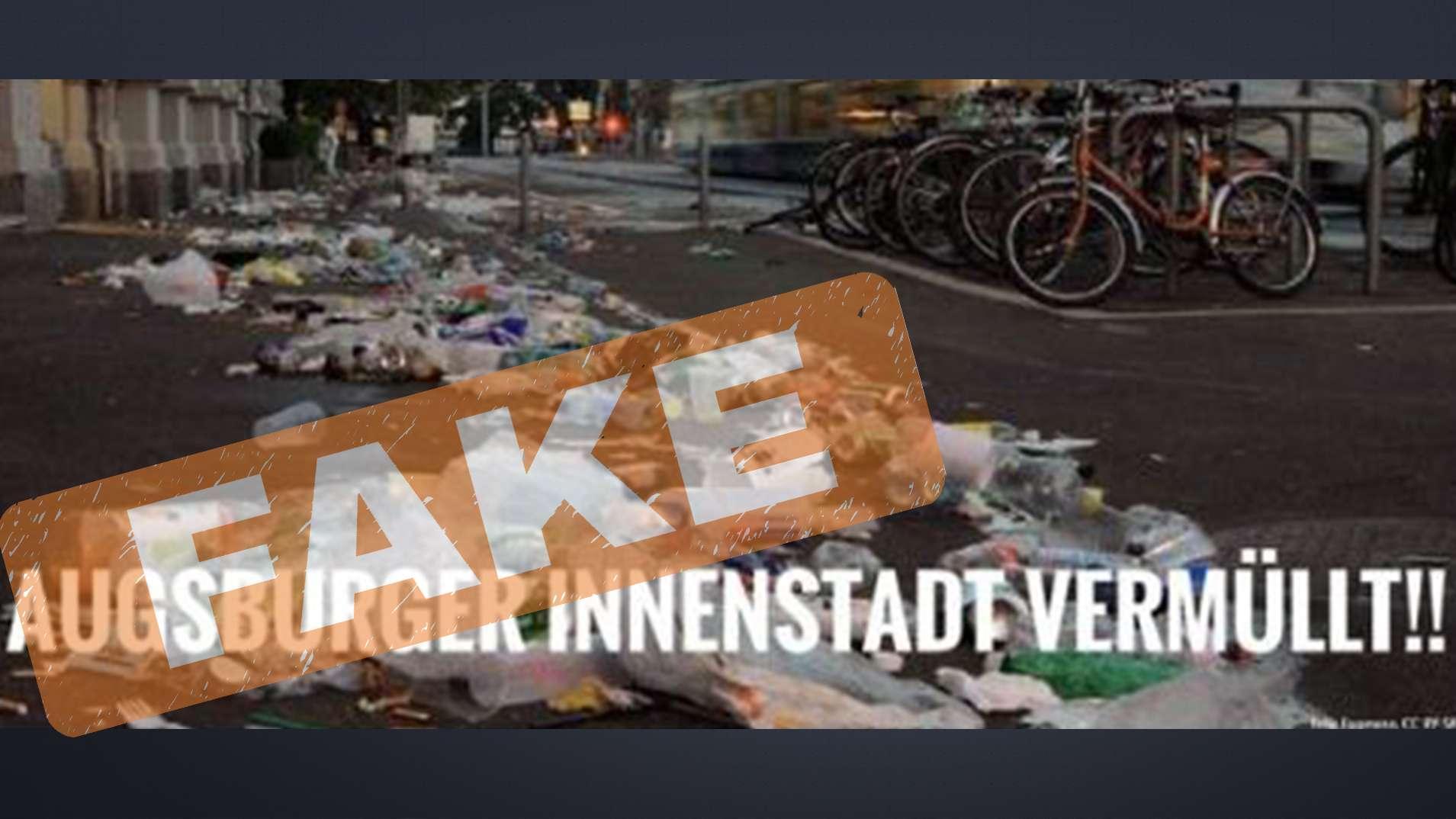 """Ausschnitt aus einem Twitter-Post zu angeblichem Müll in Augsburg.  Das """"Fake""""-Zeichen wurde gegen eine missbräuchliche Weiterverbreitung eingefügt."""