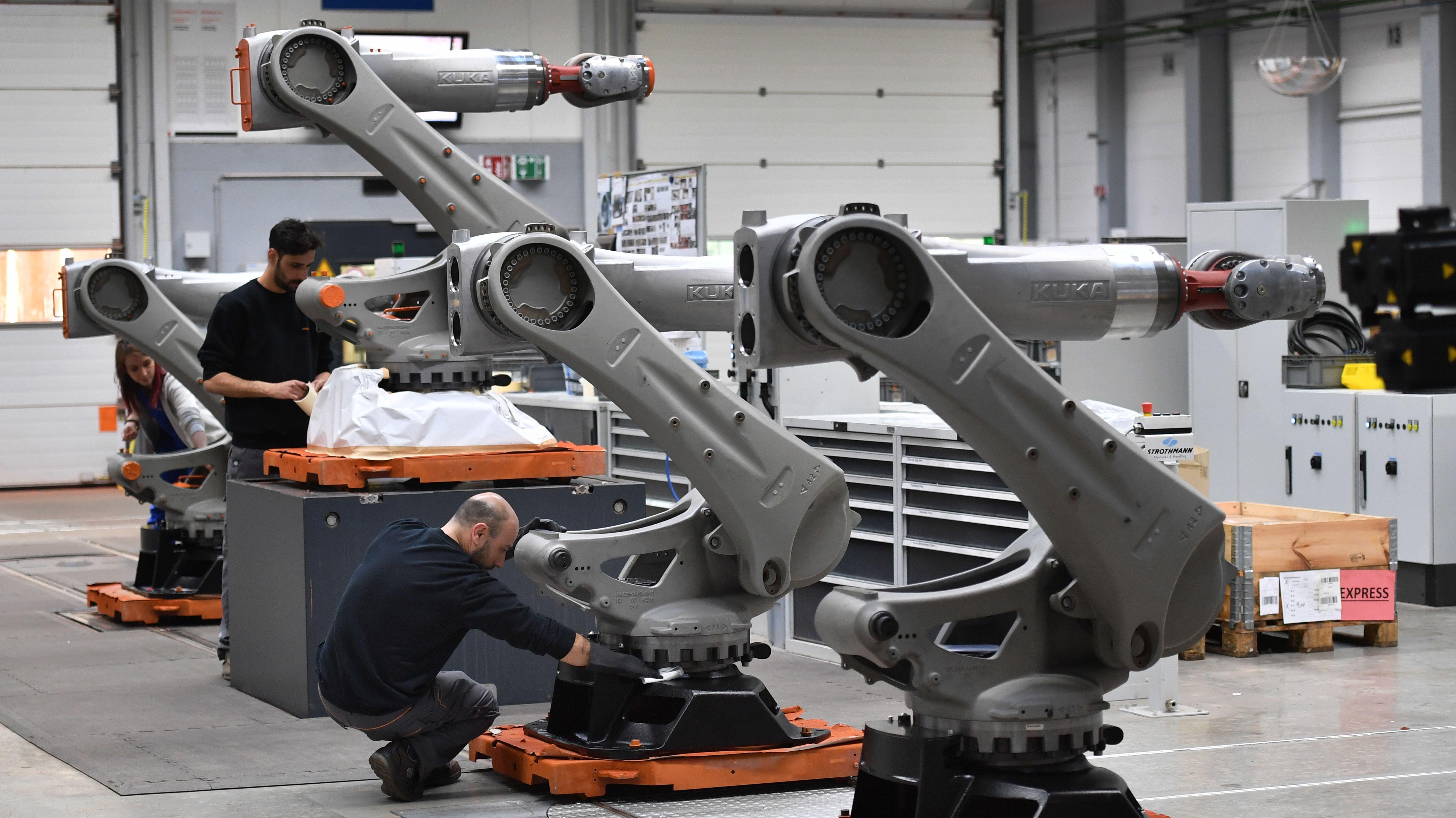 Roboter Produktion-Fertigung, Industrieroboter werden zusammengebaut.