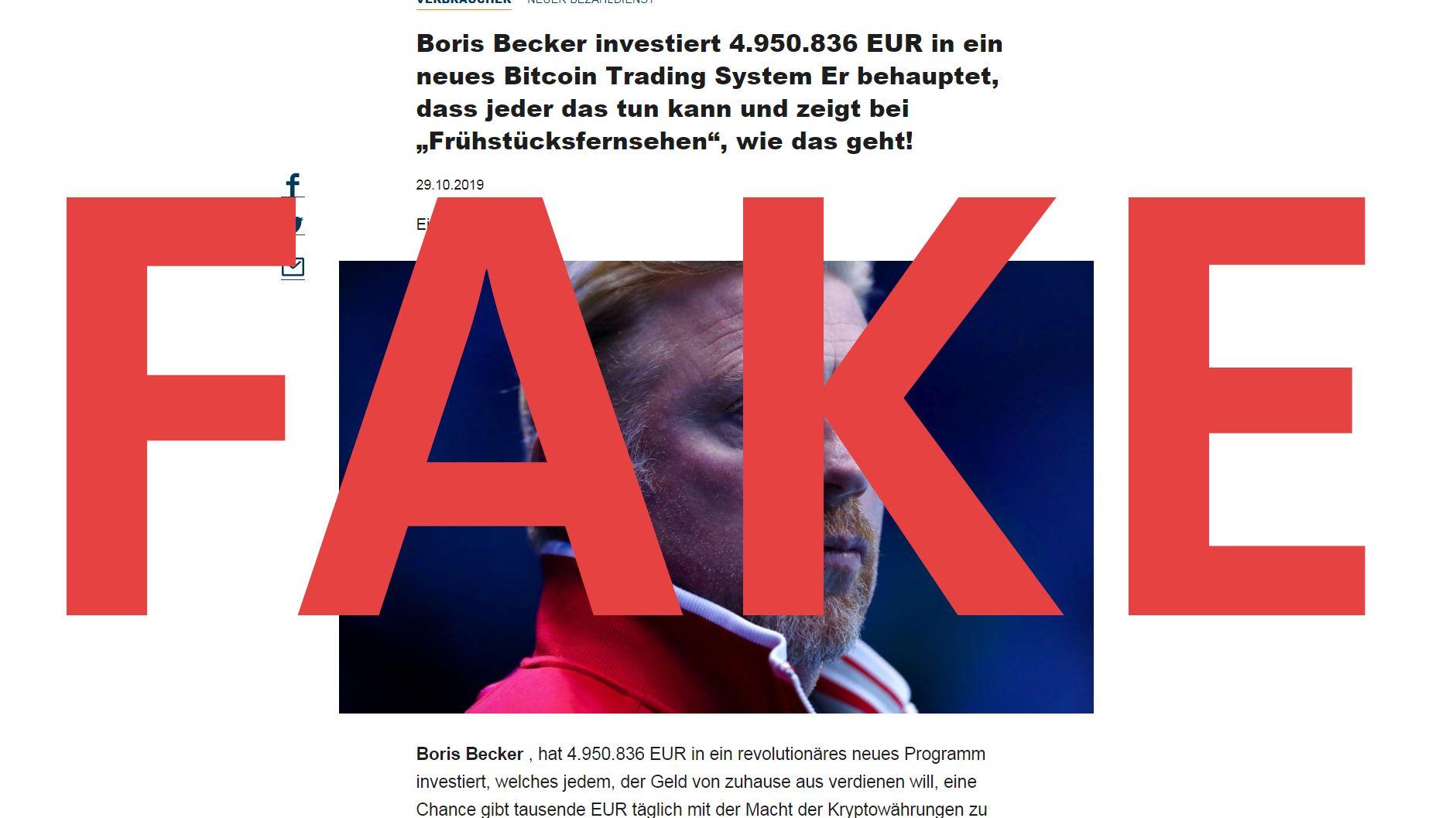 Betrügerseite mit Boris Becker