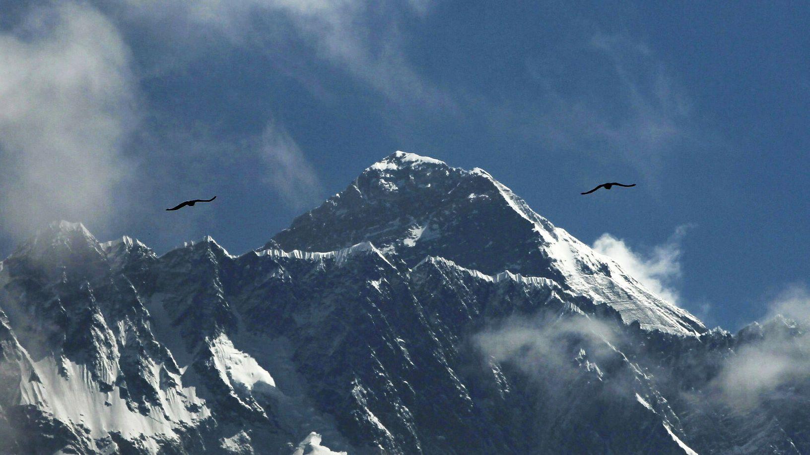 Nepal, Solukhumbhu: Vögel fliegen vor dem Mount Everest.