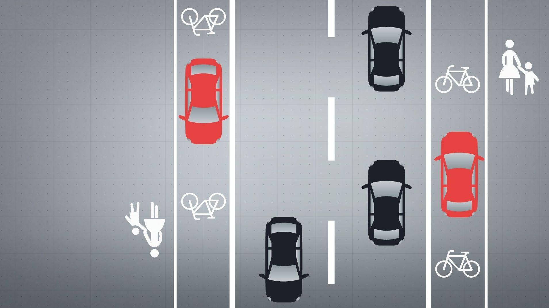 Grafik: Parkende Autos auf dem Radweg sind eine Behinderung für Radfahrer.
