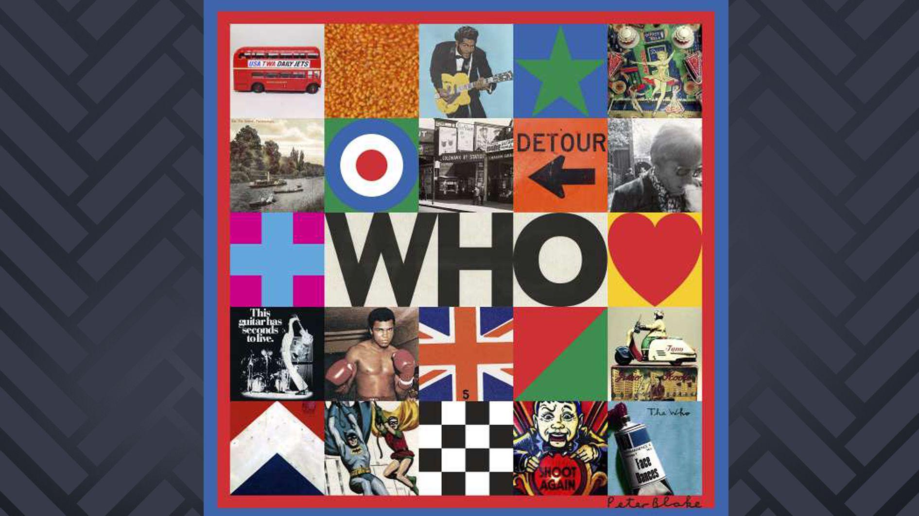 Auf einem Albumcover sind kleine Quadrate mit verschiedenen kleinen Bildern zu sehen.