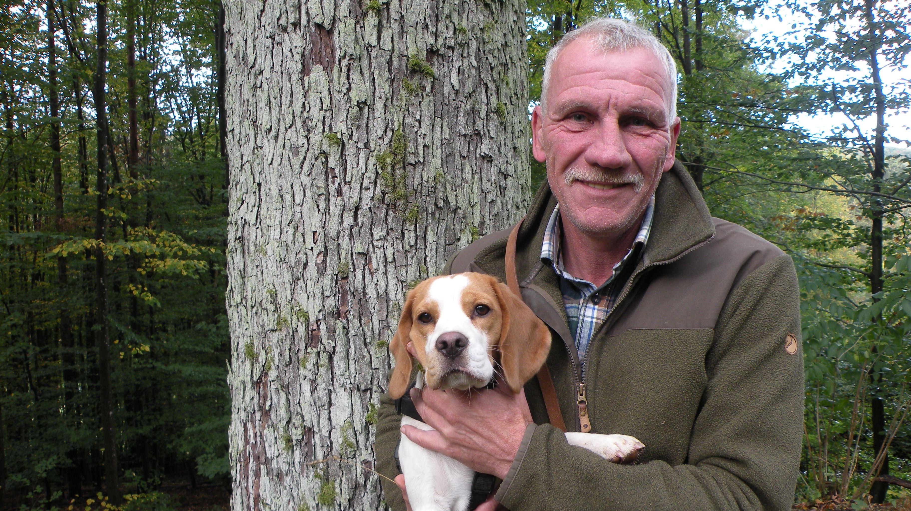 Forstamtsleiter Hans Stark vor einer Elsbeere in Sailershausen