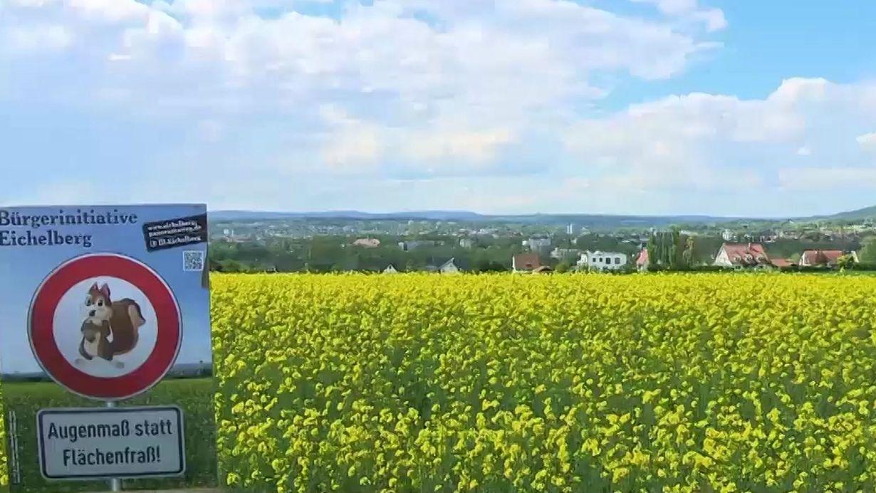 Ein Schild der Bürgerinitiative Eichelberg mit der Aufschrift Augenmaß statt Flächenfraß steht vor einem gelben Rapsfeld.