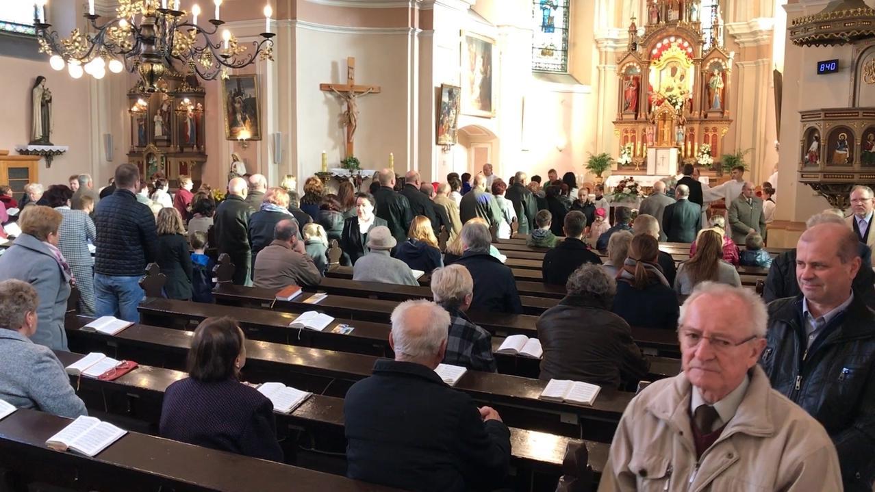 St. Laurentius während eines Gottesdienstes.