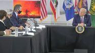 US-Präsident Trump bei einem Krisentreffen zu den Waldbränden | Bild:BR24