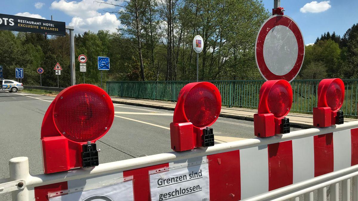 Geschlossener Grenzübergang zu Tschechien bei Waidhaus
