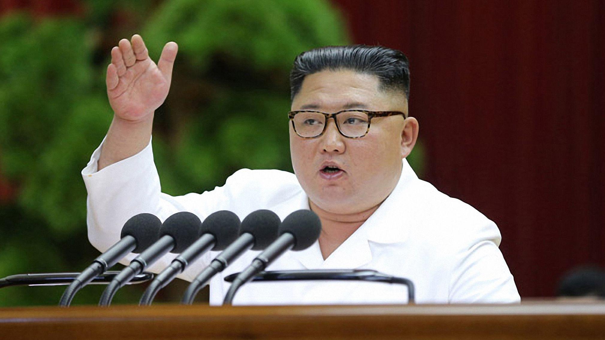 Nordkoreas Machthaber Kim bei einer Ansprache am 31.12.2019 vor Funktionären der regierenden Arbeiterpartei.