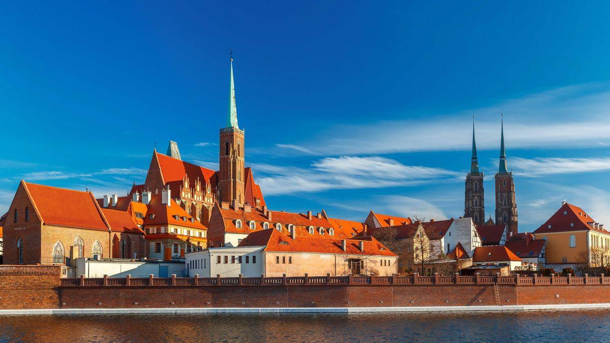 Dominsel im polnischen Wroclaw, dem früheren Breslau in Schlesien.
