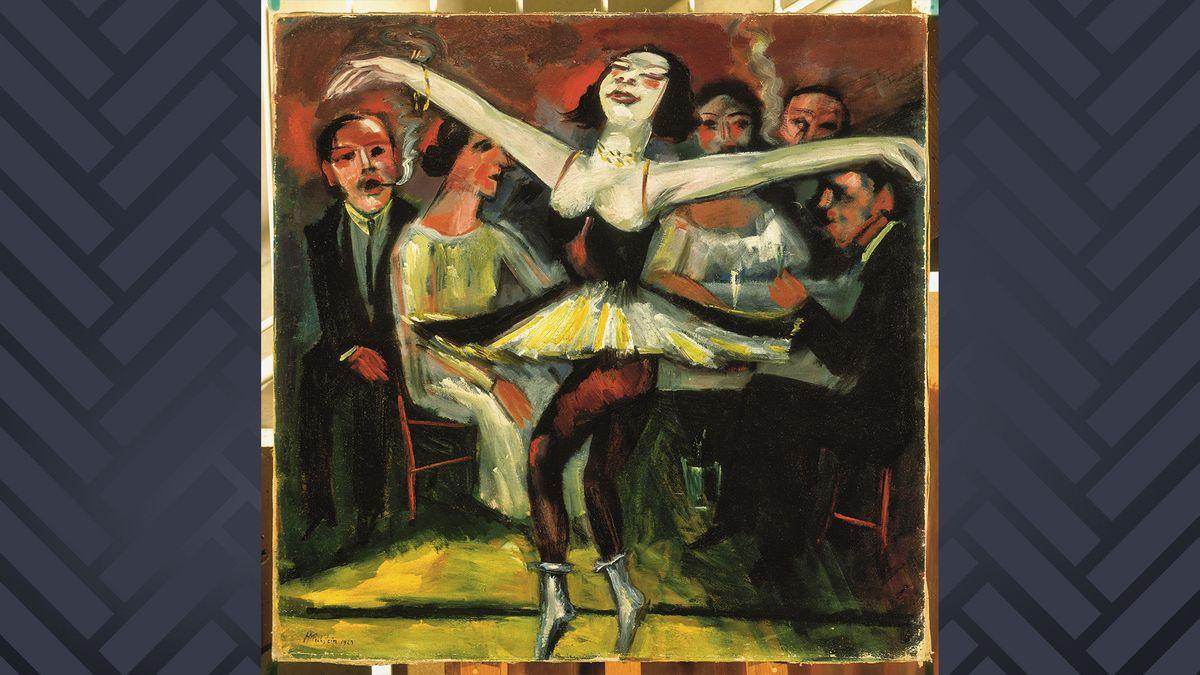 Tanzszene in einer Bar, im Vordergrund eine Tänzerin in knappem Rock, dahinter rauchende Bargäste