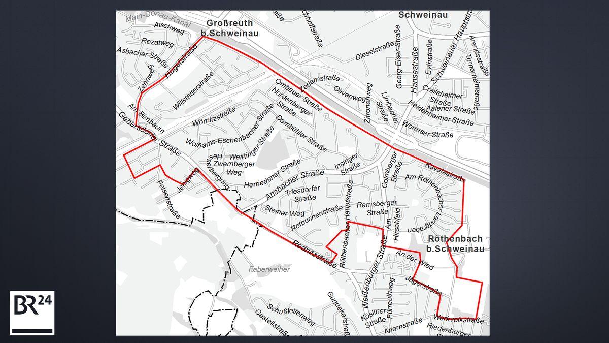 Karte mit betroffenen Straßen