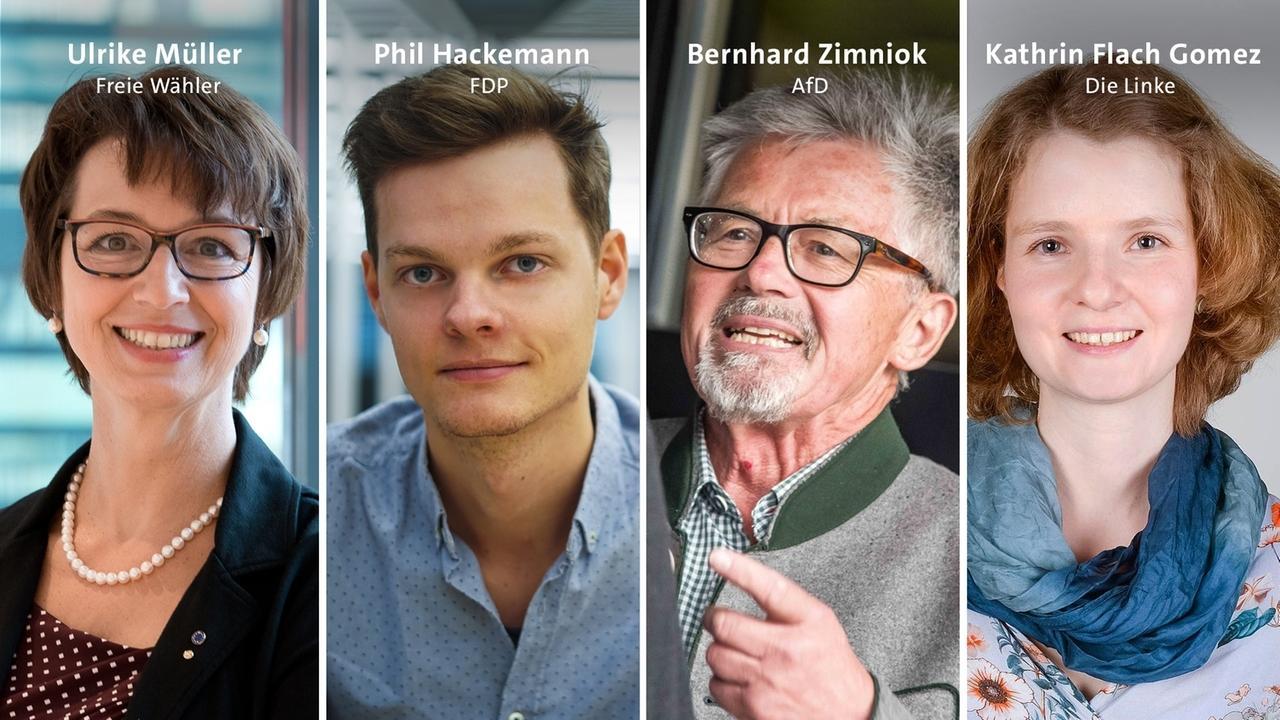Fotomontage der vier Spitzenkandidaten: Ulrike Müller (Freien Wähler), Phil Hackemann (FDP),  Bernhard Zimniok (AfD), Katrhin Flach Gomez (Die Linke)