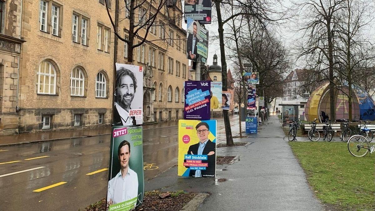 Wahlplakate an den Bäumen entlang einer Straße in Bamberg.