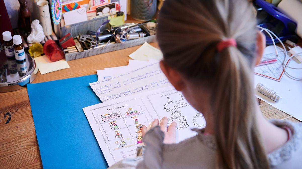 Eine Schülerin der 3. Klasse arbeitet im Fach Deutsch zuhause am Schreibtisch