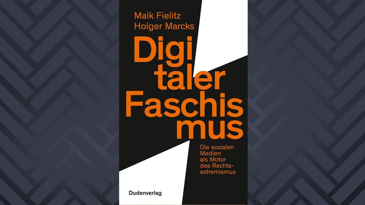 """Buchcover """"Digitaler Faschismus"""" von Maik Fielitz und Holger Marcks (orangefarbene Schrift auf weißem und schwarzem Grund)"""