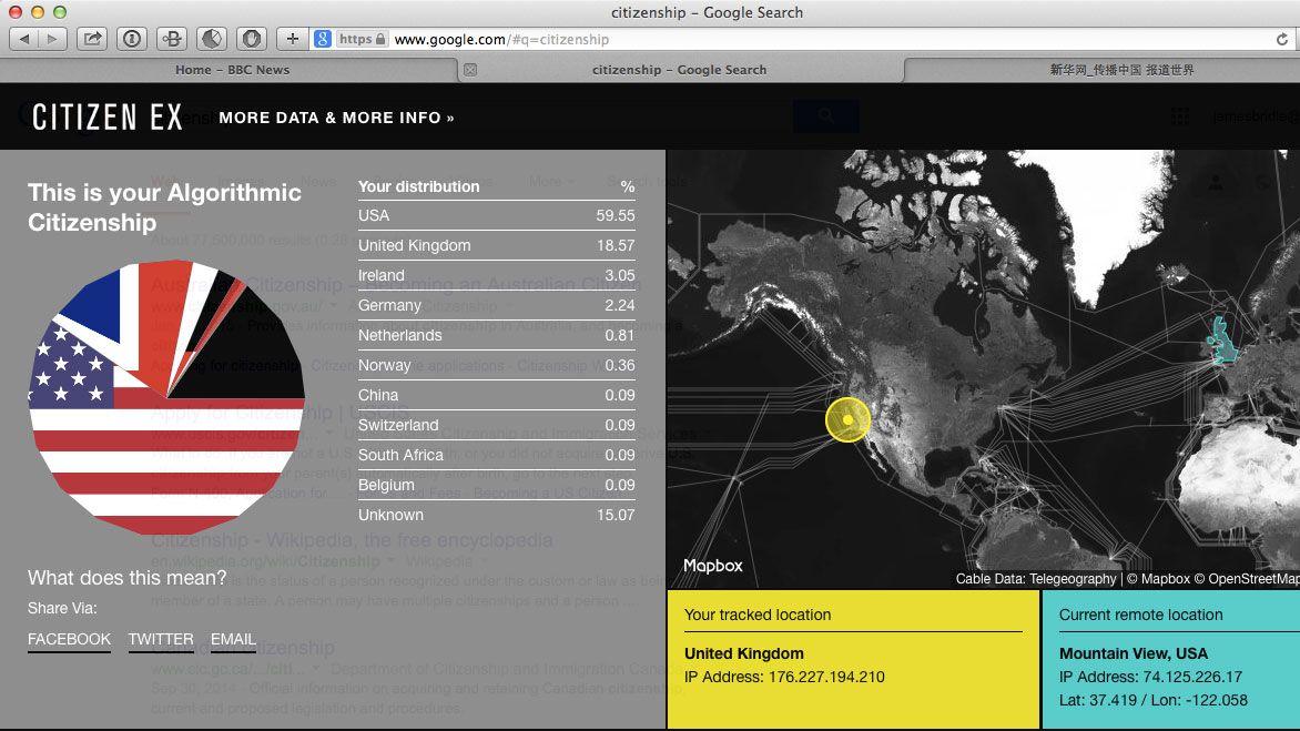 """Eine Internetseite zeigt Tortendiagramm und Karte zu """"algorithmischer Staatsbürgerschaft"""" von James Bridle"""