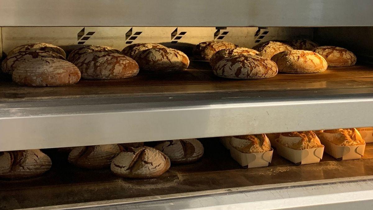 Brot aus Insekten- und Dinkelmehl backt im Ofen.
