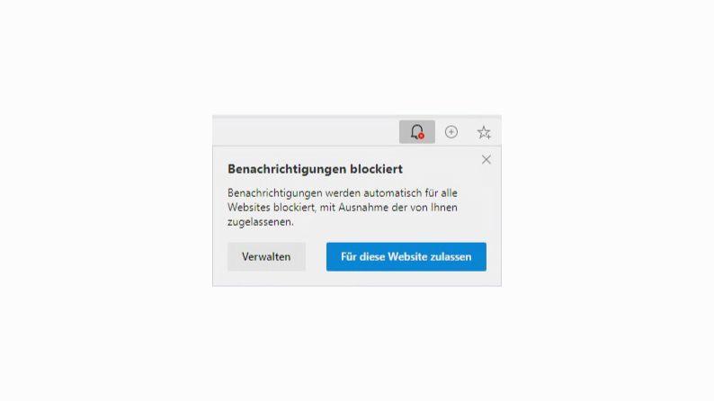 Klicken Sie in Edge auf Für diese Website zulassen, um die Benachrichtigungen im Browser zu aktivieren.