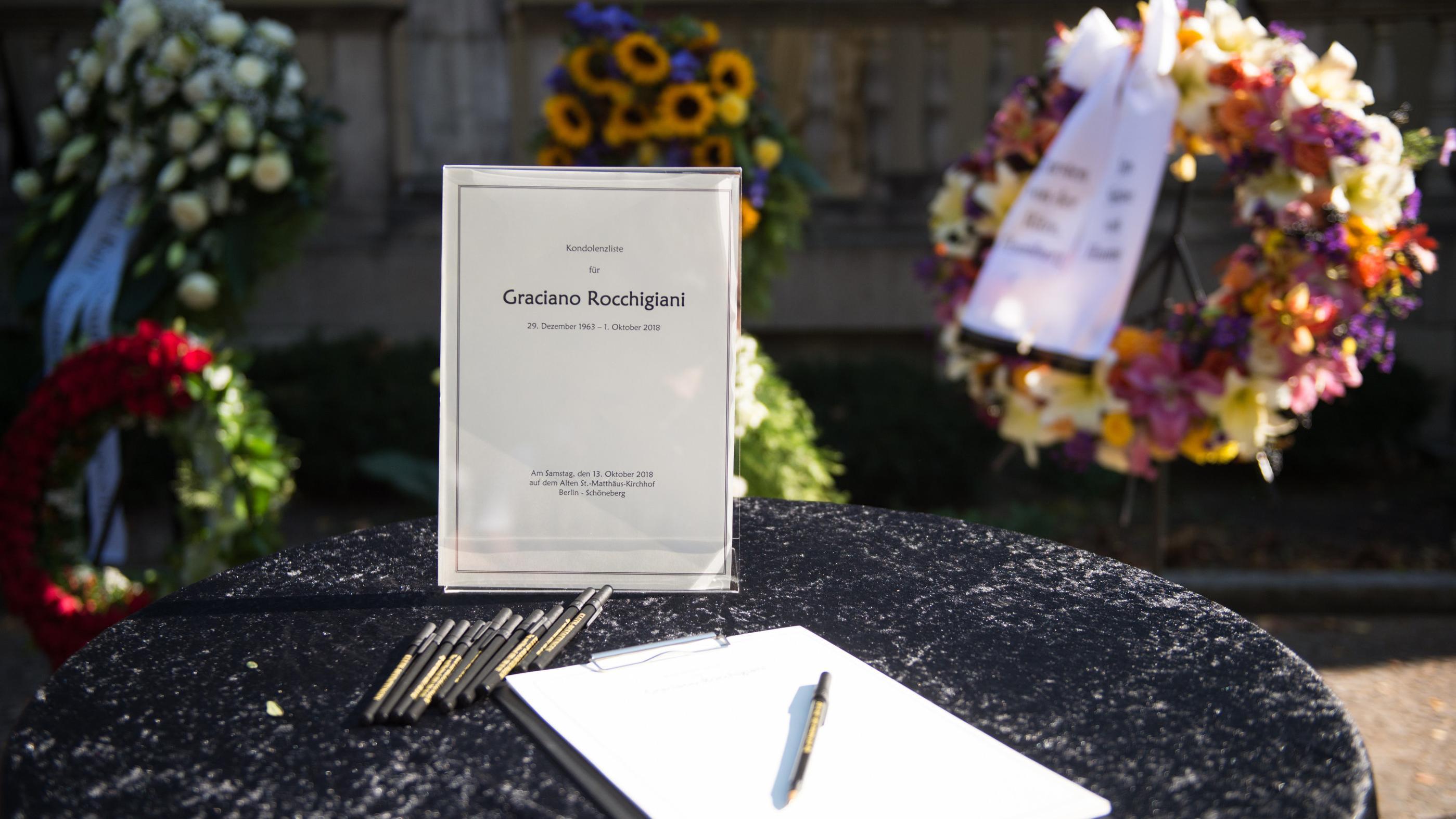Kondolenzbuch bei der Beerdigung von Graciano Rocchigiani