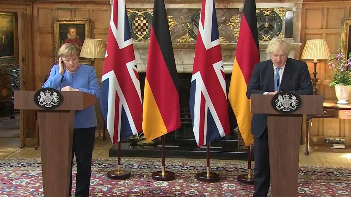 Bundeskanzlerin Angela Merkel und britischer Premier Boris Johnson