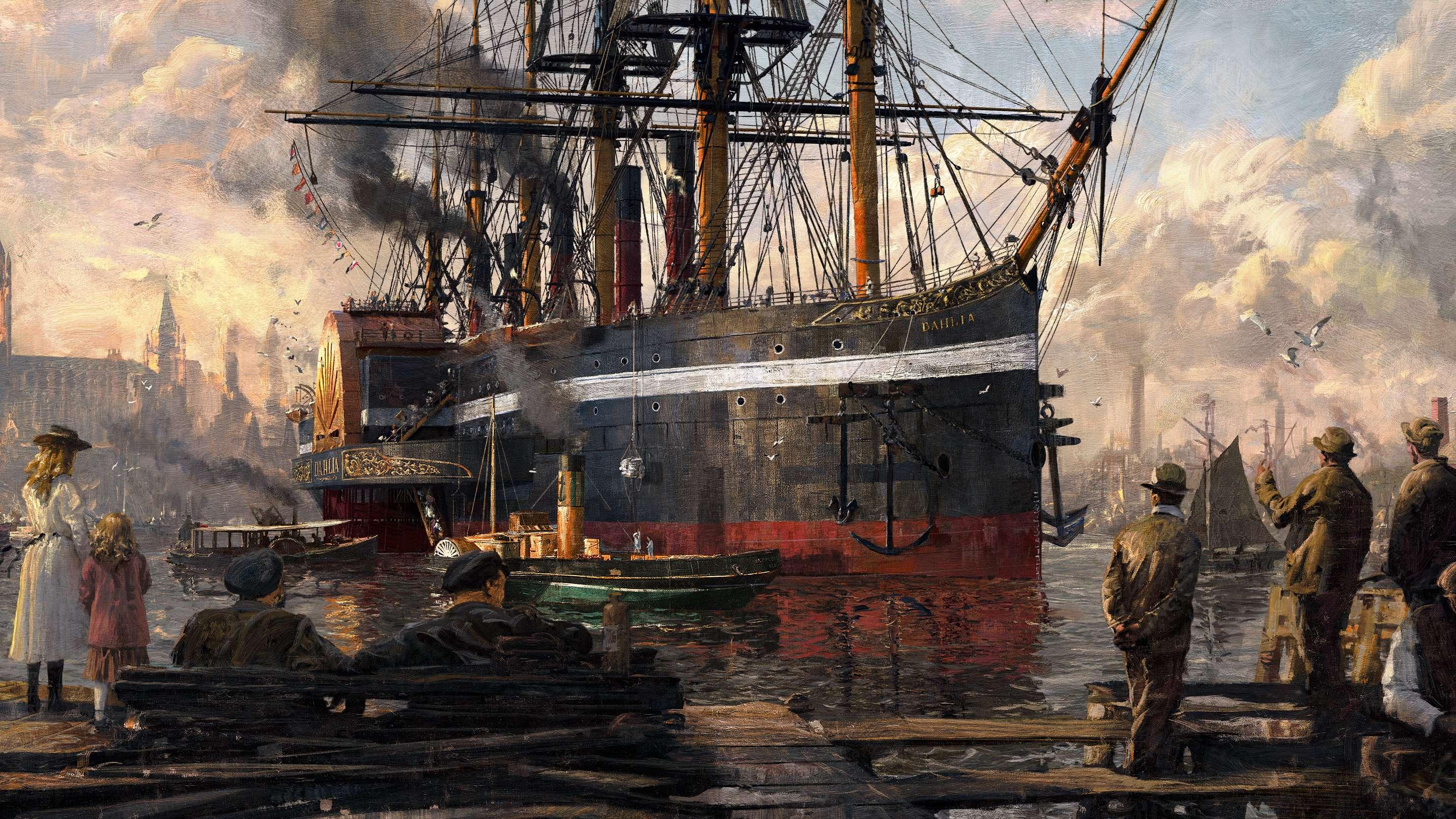 Ein riesiger Dampfer fährt in einen Hafen ein. Am Pier steht eine junge Mutter mit ihrem Kind und drei Männer in Arbeitskleidung.