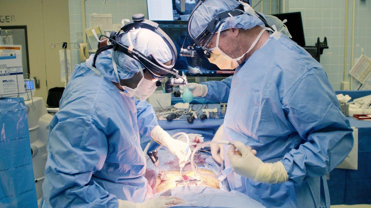David Langer und ein Kollege operieren einen Patienten.