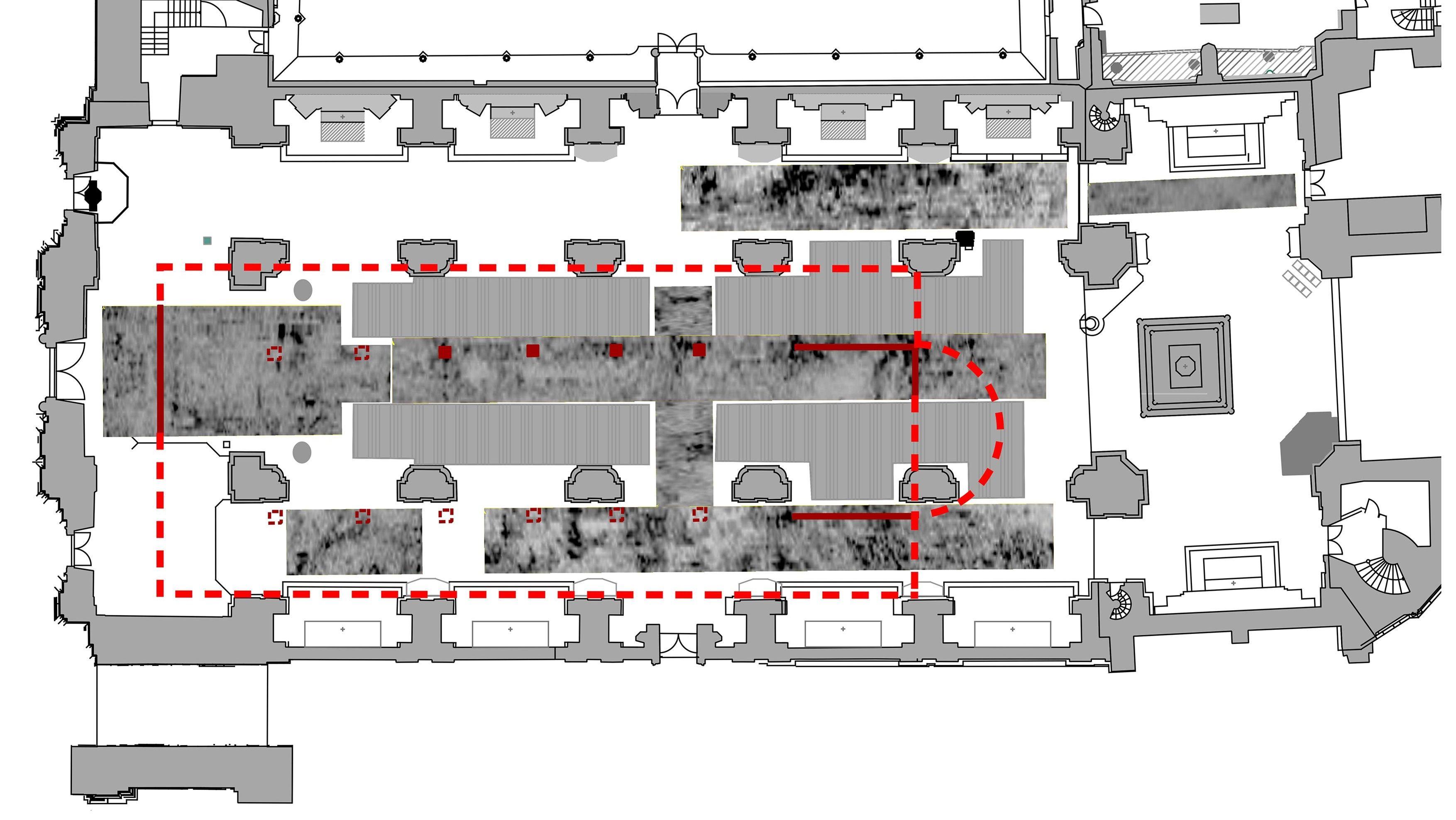 Der Grundrissplan des Passauer Doms mit der eingezeichneten karolingischen Vorgängerkirche.